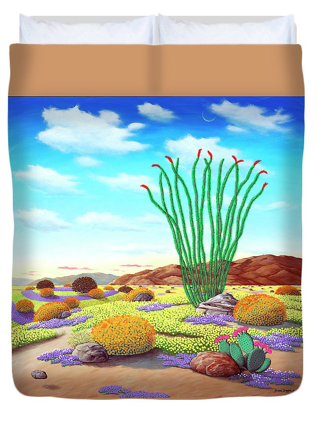 Flowers Duvet Cover featuring the painting Super Bloom by Snake Jagger