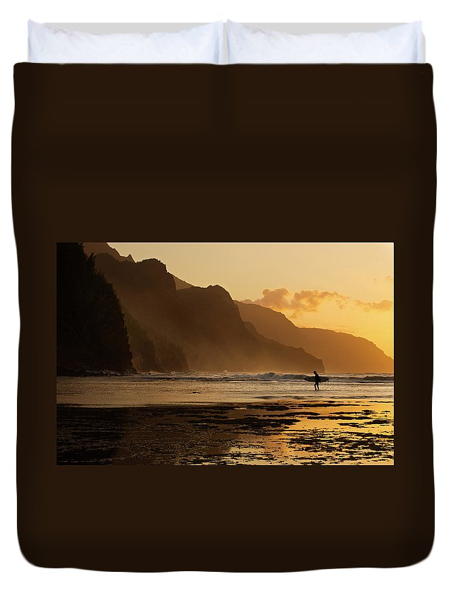 Tranquility Duvet Cover featuring the photograph Surfer On Beach And Na Pali Coast Seen by Enrique R. Aguirre Aves