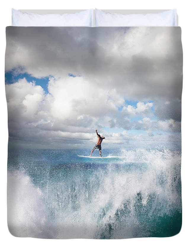 Human Arm Duvet Cover featuring the photograph Surfer Surfing On Wave, Rear View by Ed Freeman