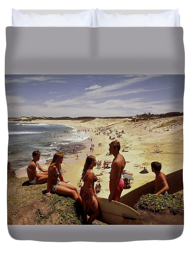 Equipment Duvet Cover featuring the photograph Surfers & Girls In Bikinis, Soldiers by Robin Smith