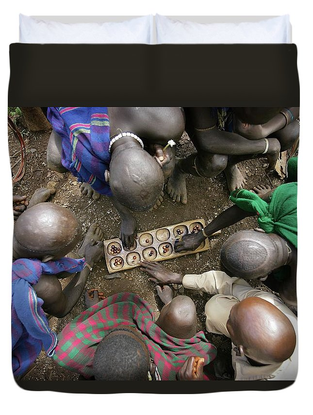 Nut Duvet Cover featuring the photograph Suri Tribal Game Of Mancala Seen From by Timothy Allen