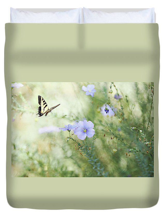 Animal Themes Duvet Cover featuring the photograph Swallowtail Butterfly In Flax Garden by Susangaryphotography
