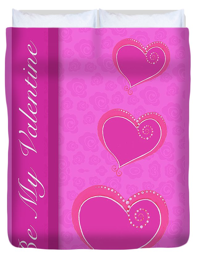 Sweet Duvet Cover featuring the mixed media Sweet Pink Valentines IIi by Andi Metz