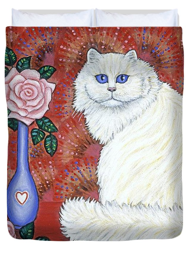 Cats Duvet Cover featuring the painting Sweetheart Cat by Linda Mears