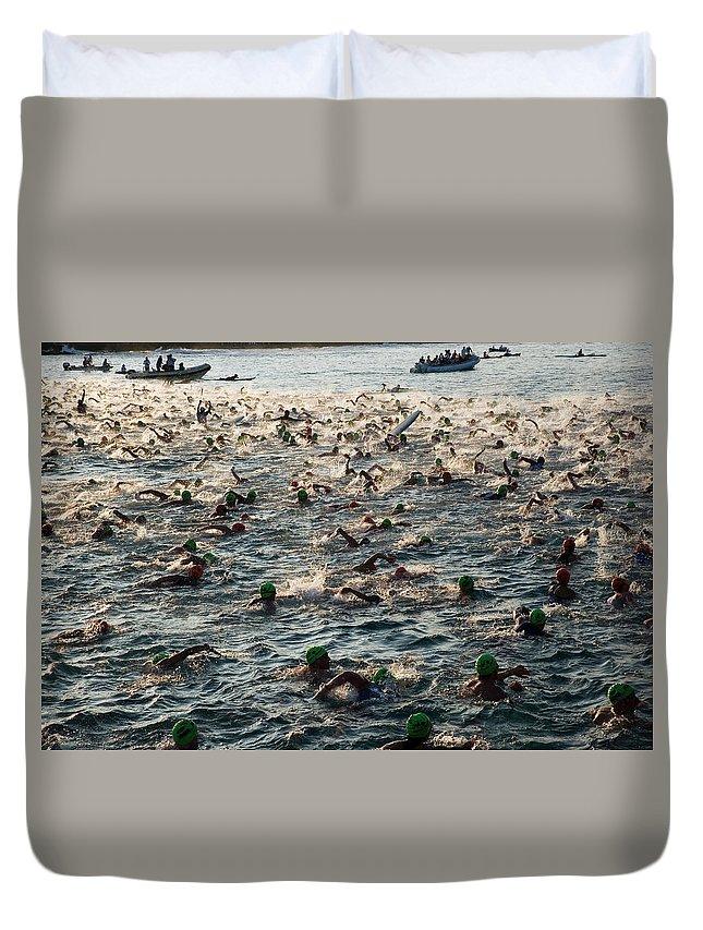 Seascape Duvet Cover featuring the photograph Swim Start Of Triathlon In Kailua Bay by Alvis Upitis