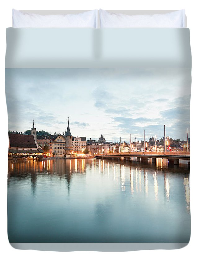 Dawn Duvet Cover featuring the photograph Switzerland, Lucerne, View Of by Westend61