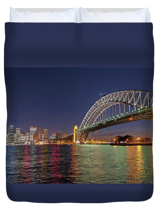 Built Structure Duvet Cover featuring the photograph Sydney Harbor Bridge At Night, Sydney by Marco Simoni