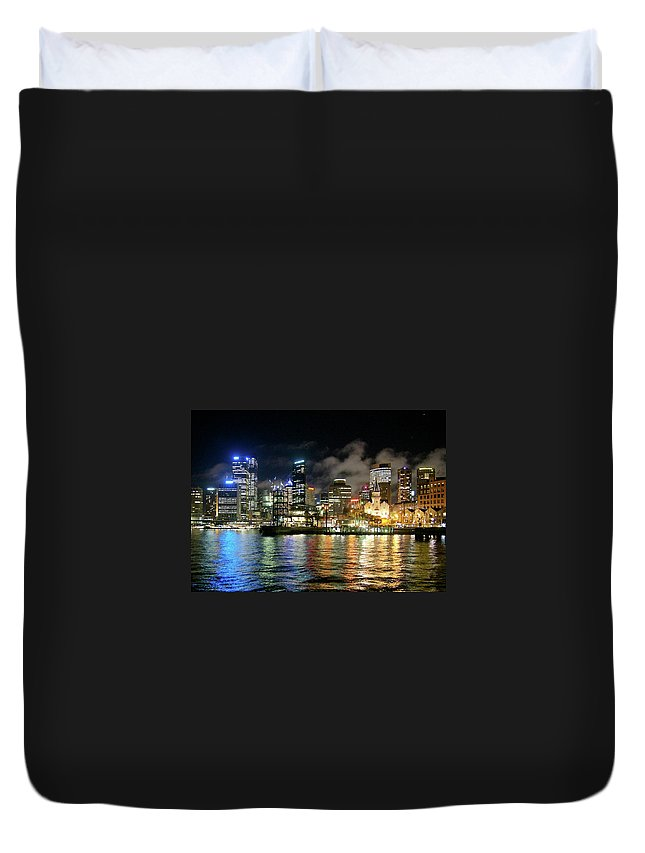 Outdoors Duvet Cover featuring the photograph Sydney Harbour At Night - Circular Quay by Gregory Adams