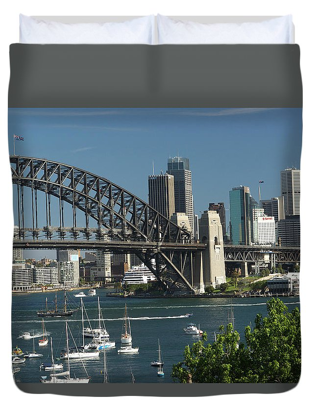 Sydney Harbor Bridge Duvet Cover featuring the photograph Sydney Harbour, New South Wales by Robin Smith