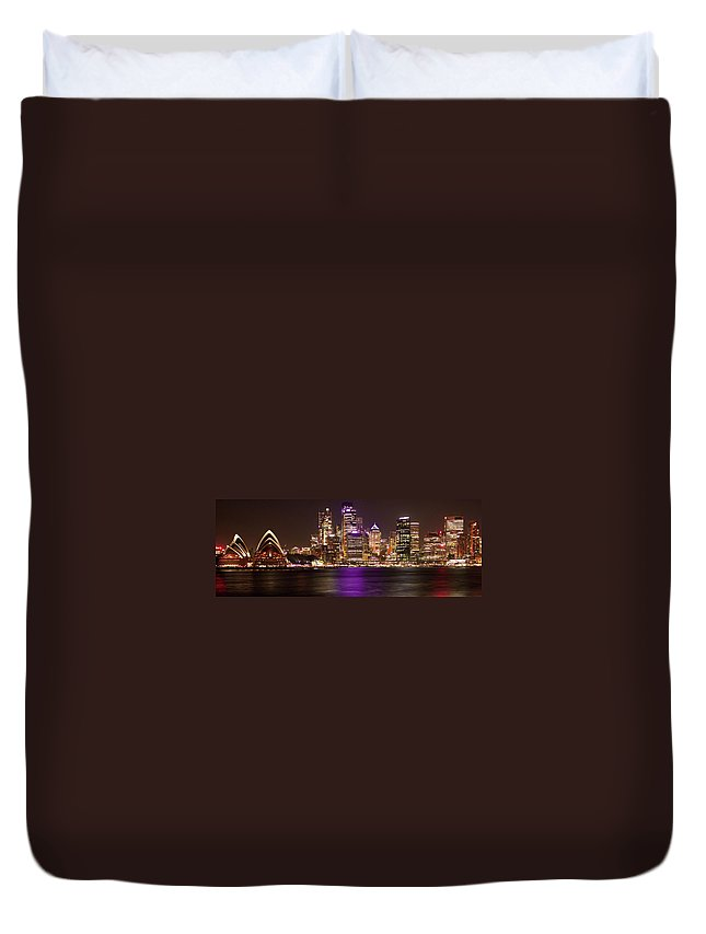 Panoramic Duvet Cover featuring the photograph Sydney In Bronze by Capturing The Beauty Around Us, One Chapter At A Time...