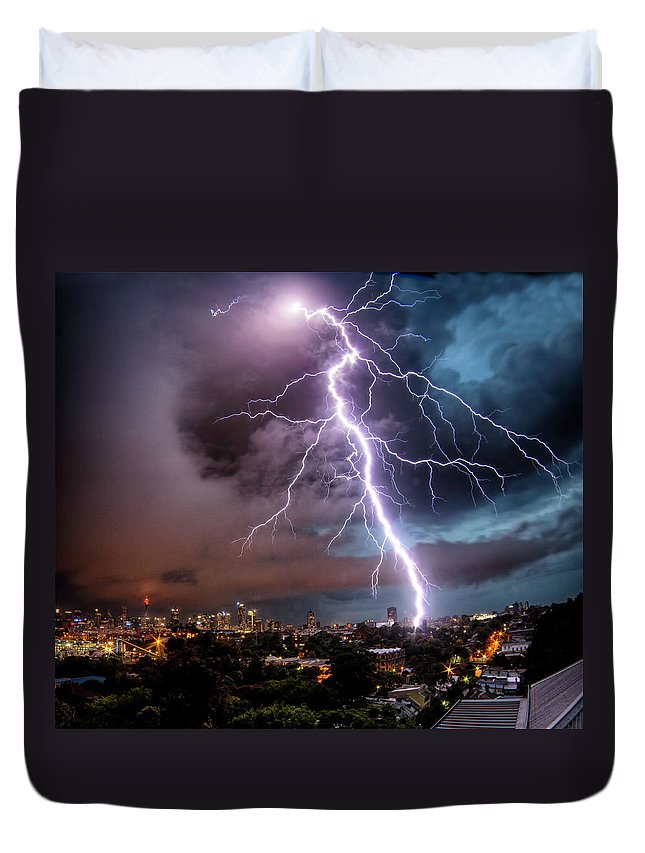 Tranquility Duvet Cover featuring the photograph Sydney Summer Lightning Strike by Australian Land, City, People Scape Photographer