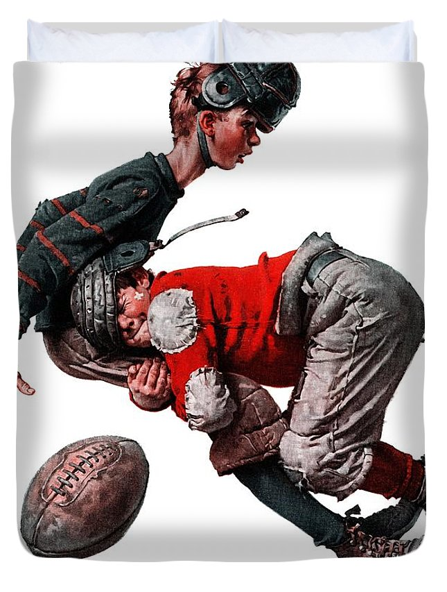 Boys Duvet Cover featuring the drawing Tackled by Norman Rockwell