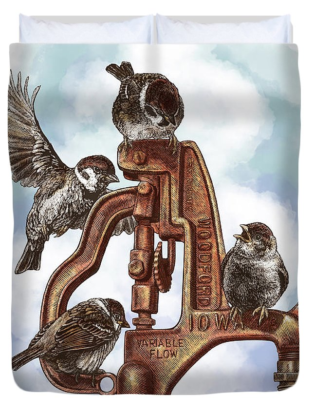 Birds Duvet Cover featuring the drawing Talk Around The Watercooler by Clint Hansen