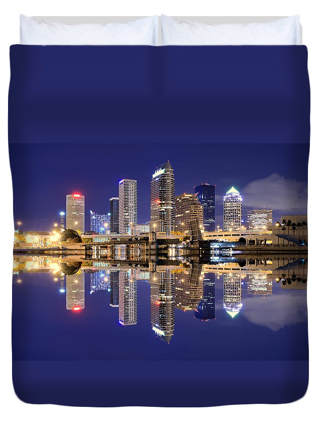 Downtown District Duvet Cover featuring the photograph Tampa Bay Skyline by Sean Pavone