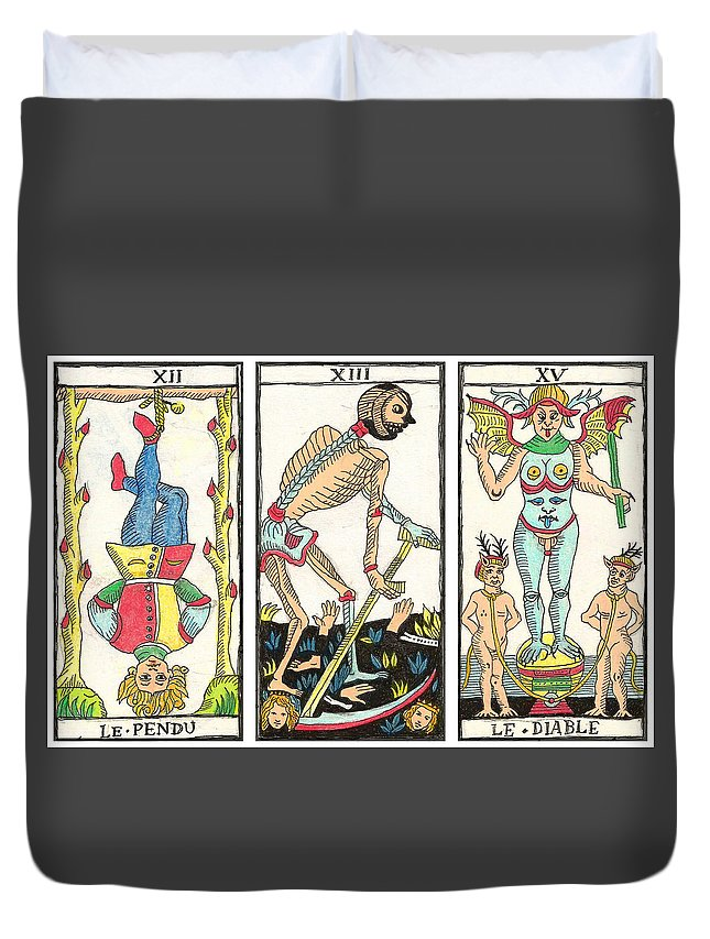 Tarot Duvet Cover featuring the drawing Tarot Freedom by Massimo Pietrobon