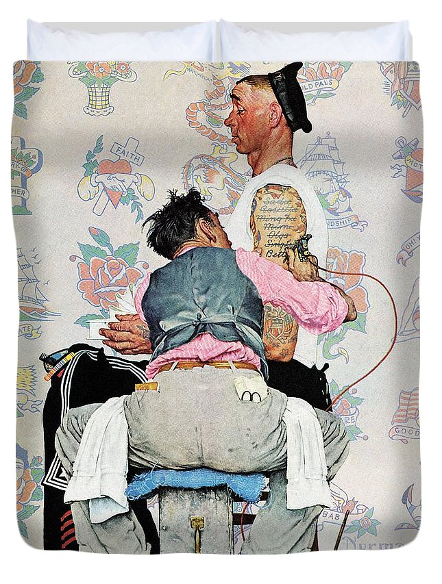 Arms Duvet Cover featuring the drawing Tattoo Artist by Norman Rockwell