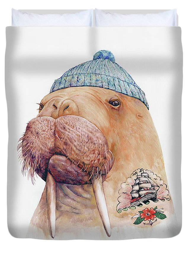 Tattoo Duvet Cover featuring the painting Tattooed Walrus by Animal Crew