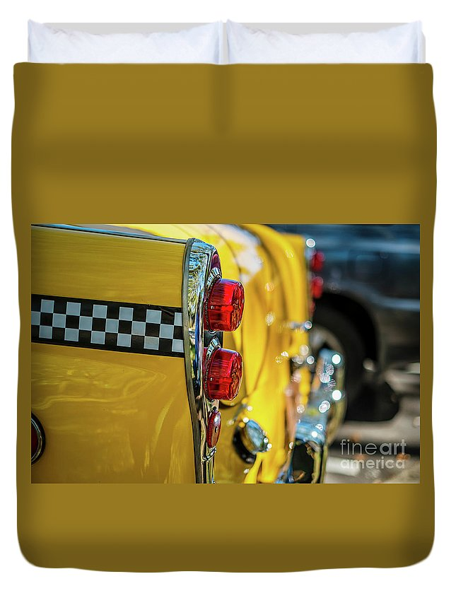 Outdoors Duvet Cover featuring the photograph Taxi Tail Light, New York City, New by Kai Sarton