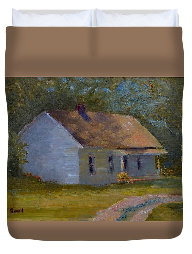 Kentucky Duvet Cover featuring the painting Tay's Cottage by Roger Snell