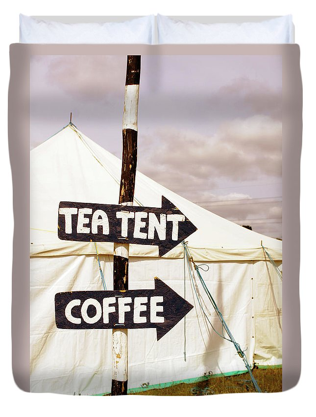 Arrow Duvet Cover featuring the photograph Tea And Coffee Tent by Tom Gowanlock