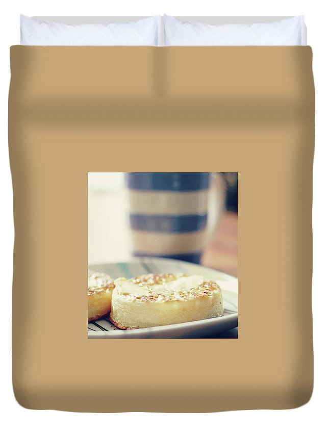 Healthy Eating Duvet Cover featuring the photograph Tea And Crumpets by Deborah Slater
