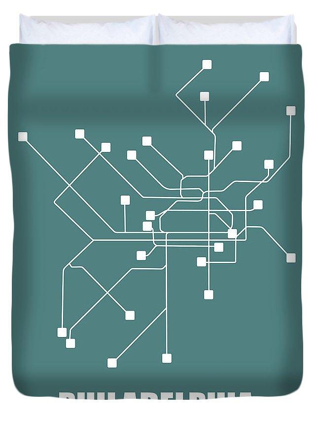 Philadelphia Duvet Cover featuring the digital art Teal Philadelphia Subway Map by Naxart Studio