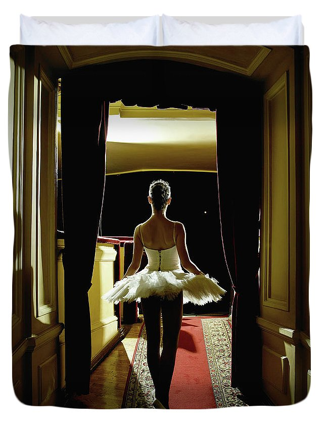 People Duvet Cover featuring the photograph Teenage Ballerina 14-15 Waiting In by Hans Neleman