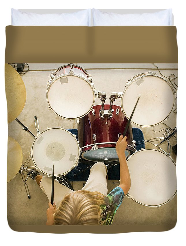 Rock Music Duvet Cover featuring the photograph Teenage Boy 13-15 Playing Drums by Bill Reitzel