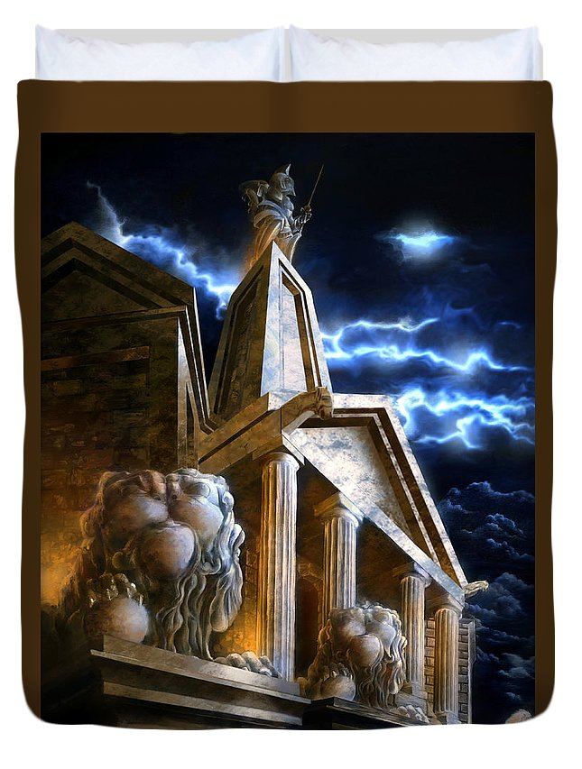 Hercules Duvet Cover featuring the mixed media Temple Of Hercules In Kassel by Curtiss Shaffer