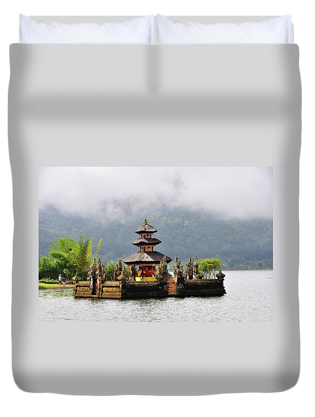 Tranquility Duvet Cover featuring the photograph Temple On Lake, Bali by Aaron Geddes Photography