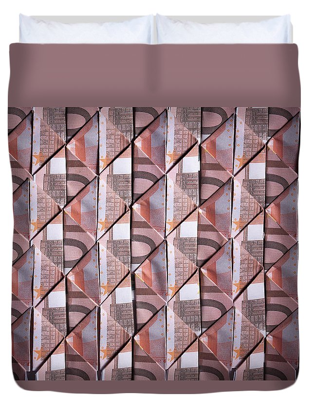 Shadow Duvet Cover featuring the photograph Ten Euro Banknotes Folded Into Diamond by Larry Washburn