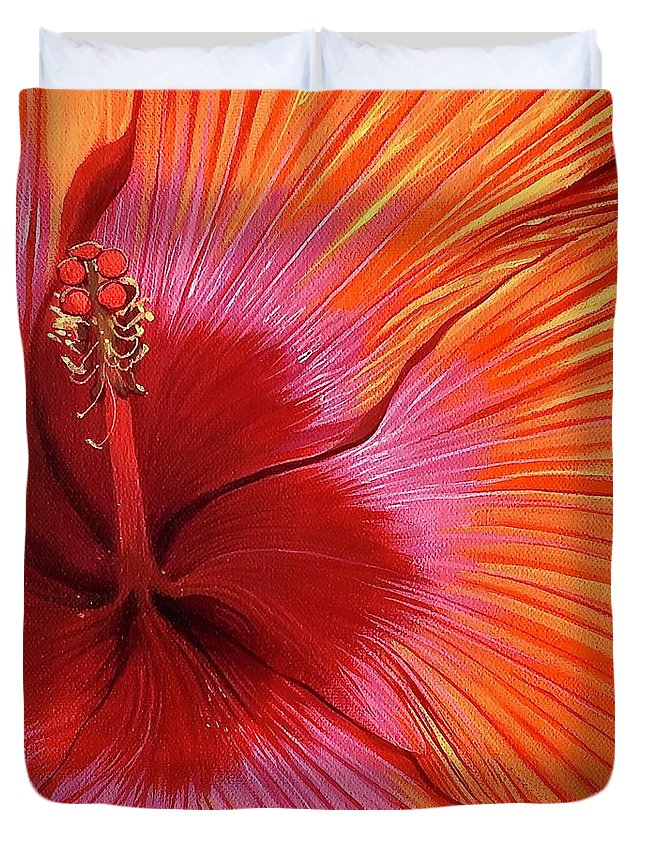 Hibiscus Duvet Cover featuring the painting Tequila Sunrise by Hunter Jay