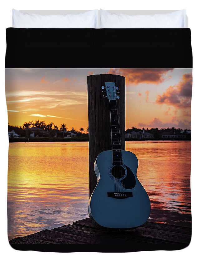 Music Duvet Cover featuring the photograph Tequila Sunrise by Laura Fasulo