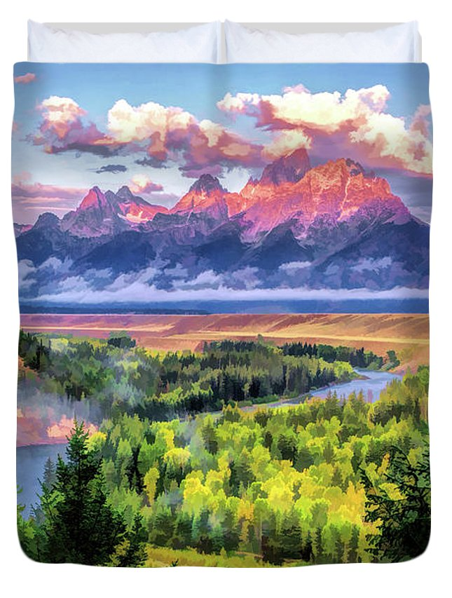 Teton Duvet Cover featuring the painting Grand Teton National Park Snake River by Christopher Arndt