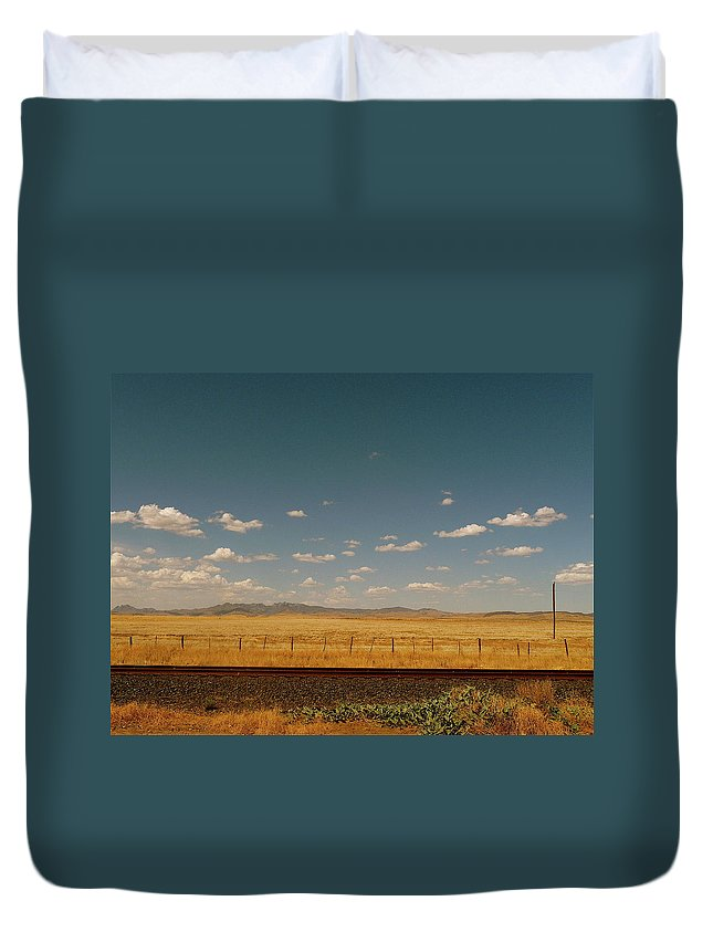 Tranquility Duvet Cover featuring the photograph Texan Desert Landscape And Rail Tracks by Papilio