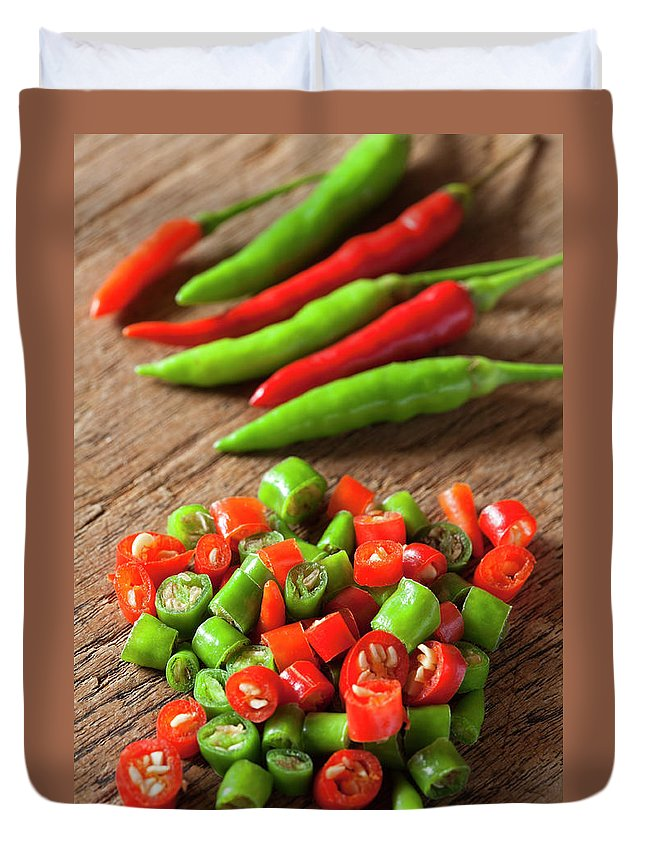Southeast Asia Duvet Cover featuring the photograph Thai Red And Green Fresh Market Chili by Enviromantic