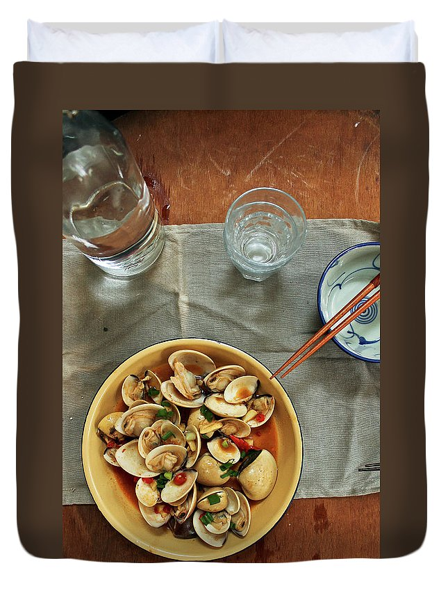 Thai Culture Duvet Cover featuring the photograph Thai Spicy Chili Clams Stir-fry by Jen Voo Photography