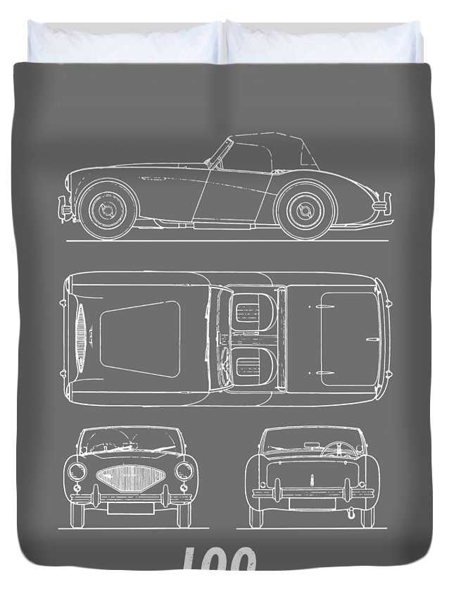 Car Duvet Cover featuring the photograph The Austin-healey 100 by Mark Rogan