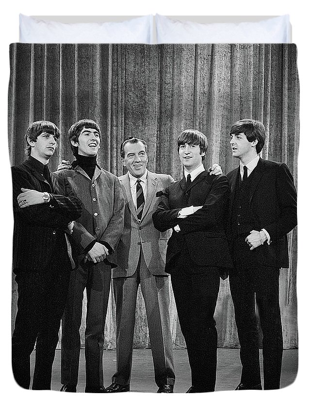The Beatles Duvet Cover featuring the photograph the beatles and ed sullivan - February, 1964 by Mountain Dreams