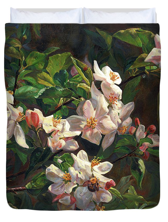 Flower Duvet Cover featuring the painting The Blossom Of Glamorous Spring by Svitozar Nenyuk