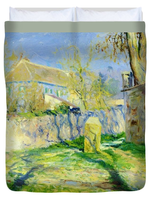 The Duvet Cover featuring the painting The Blue House by Guy Rose