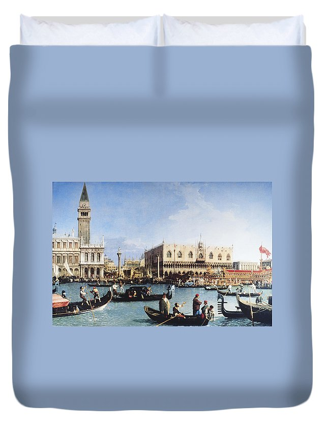 People Duvet Cover featuring the digital art The Bucintoro At The Molo On Ascension by Fototeca Gilardi