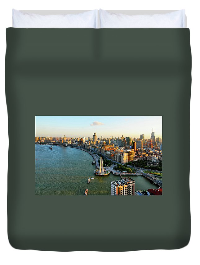 The Bund Duvet Cover featuring the photograph The Bund Sunset by Wei Fang