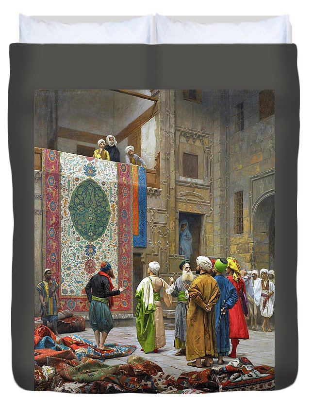Jean Leon Gerome Duvet Cover featuring the photograph The Carpet Merchant - Digital Remastered Edition by Jean-Leon Gerome