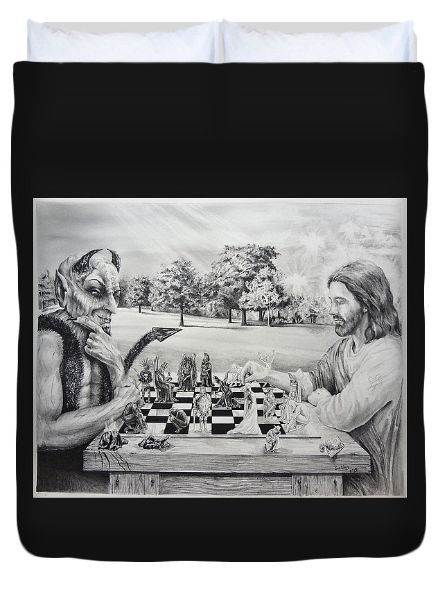 Jesus Duvet Cover featuring the drawing The Chess Game by Susan Frech-Sims