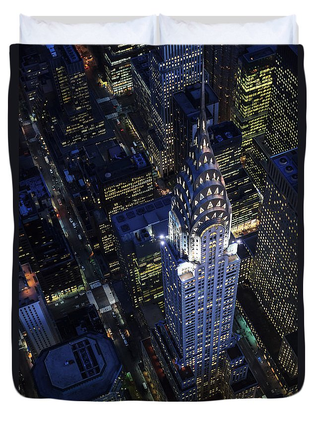 Downtown District Duvet Cover featuring the photograph The Chrysler Building And Manhattan by Berthold Trenkel