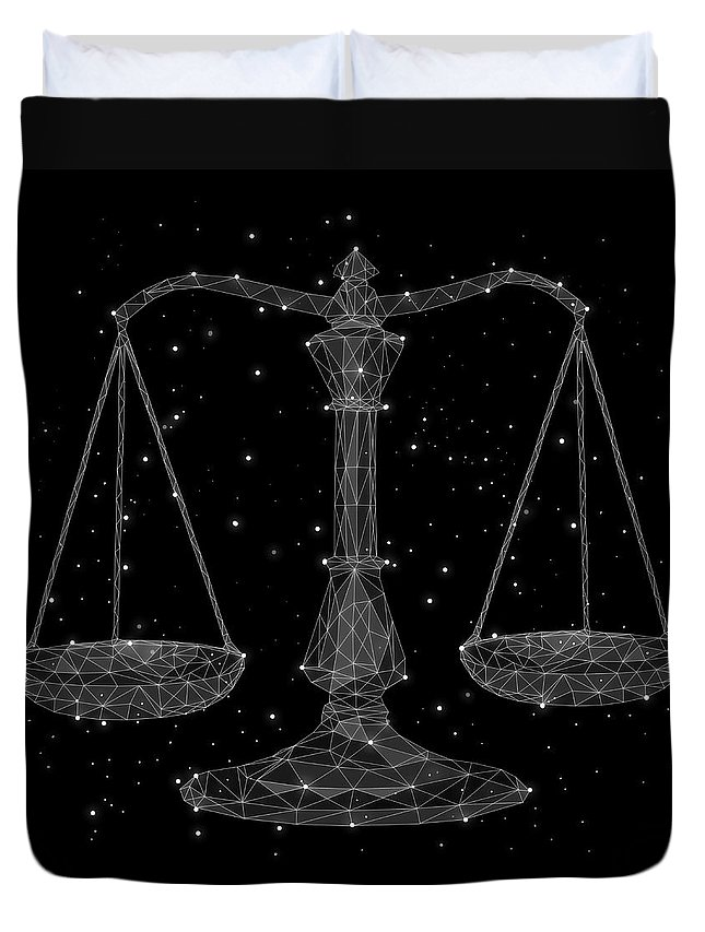 Majestic Duvet Cover featuring the digital art The Constellation Of Libra by Malte Mueller
