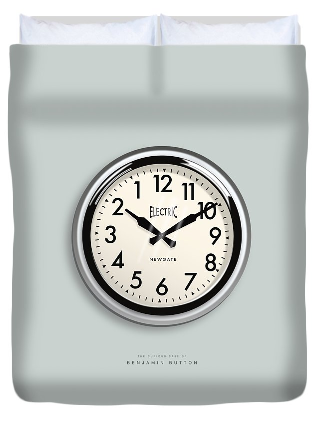 The Curious Case Of Benjamin Button Duvet Cover featuring the digital art The Curious Case of Benjamin Button - Alternative Movie Poster by Movie Poster Boy