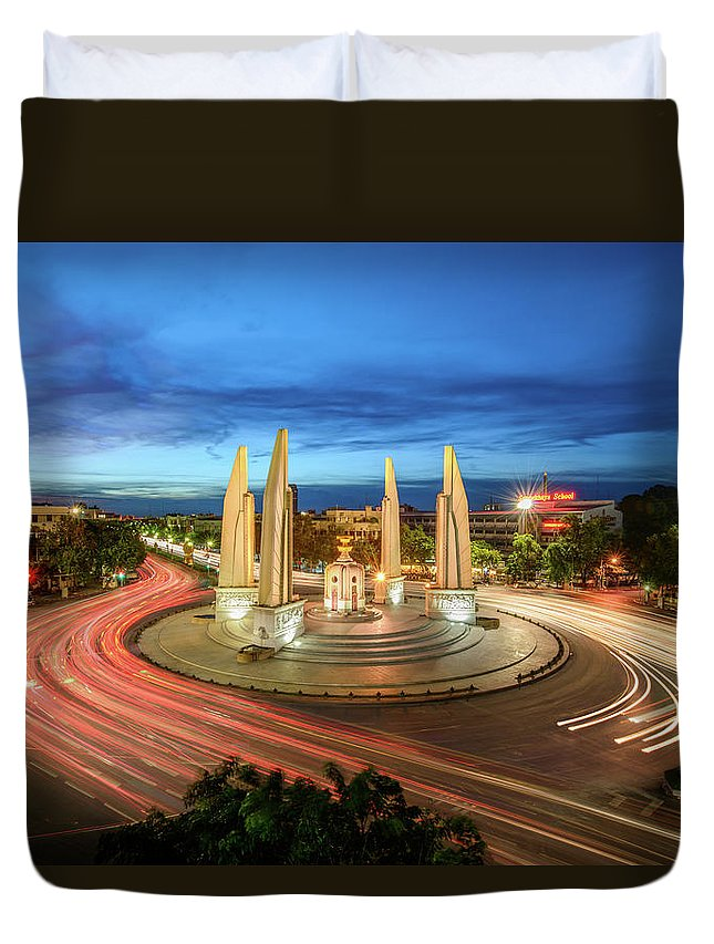 Built Structure Duvet Cover featuring the photograph The Democracy Monument by Thanapol Marattana