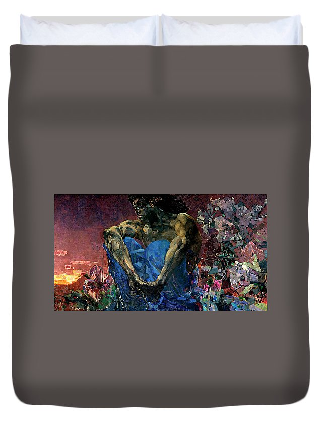 The Demon Seated Duvet Cover featuring the painting The Demon Seated by Mikhail Vrubel